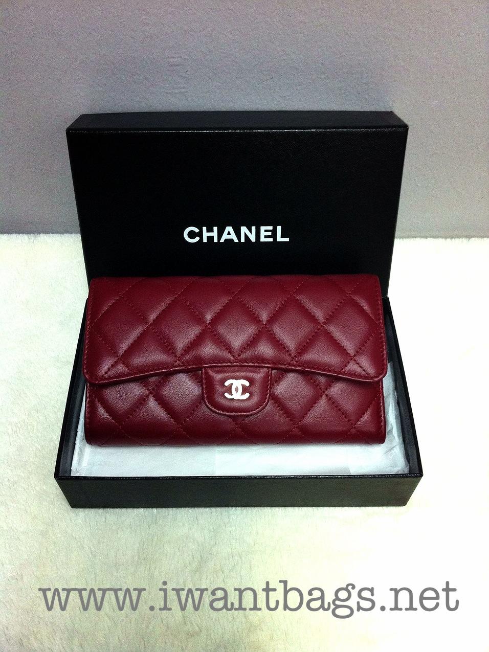 Chanel Classic Caviar Tri Fold Wallet Dark Red