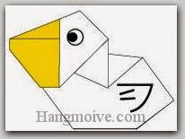 Bước 11: Vẽ mắt, cánh để hoàn thành cách xếp con bồ nông bằng giấy theo phong cách origami.