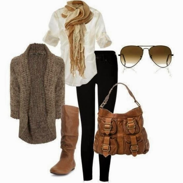 Adorable grey cardigan, white blouse, scarf, pants, handbag and high heels combination for fall