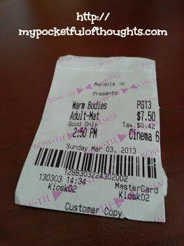 ticket stub of the movie Warm Bodies