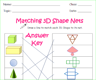 free 3D Shape Match, match the 3D shape to its net and name,