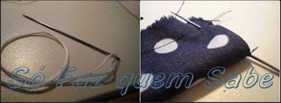 Colocando a agulha com linha numa das extremidades do rolinho para virar o roletê para o lado direito