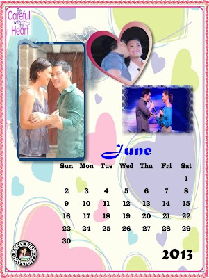 June 2013 Calendar with Sir Chief & Maya of Be Careful With My Heart