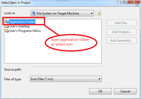 Application folder in setup project