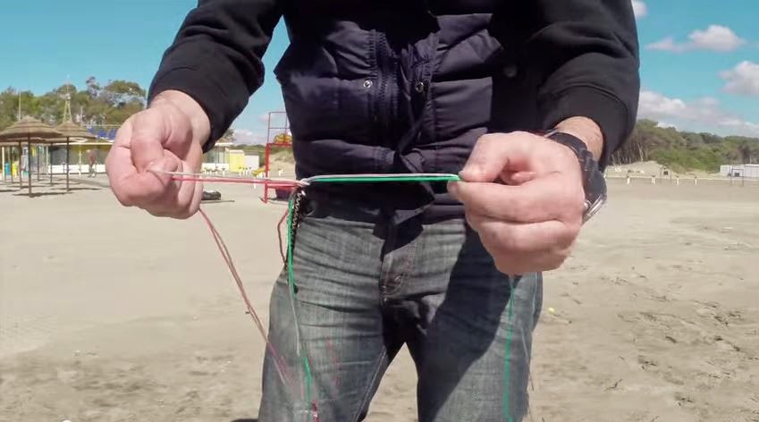 2. setup the lines as if you where preparing the kite to fly
