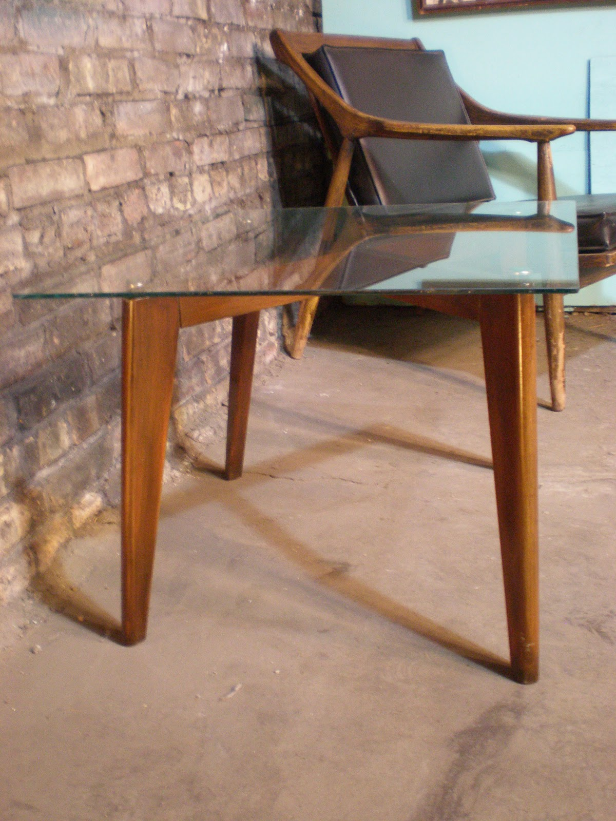 Mid century chicago danish modern glass and wood end table