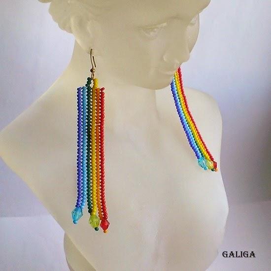 Beaded Rainbow Earrings-Rainbow Strips-Colorful Seed Bead Earrings