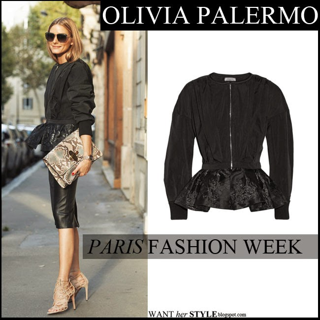 Olivia Palermo in black jacquard peplum jacket by Nina Ricci, black leather skirt with beige sandals and python snake clutch paris fashion week fall outfit want her style september 28