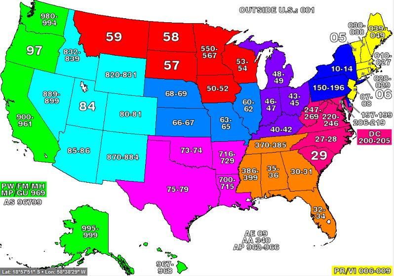 Map Usa States Cities Zip Codes
