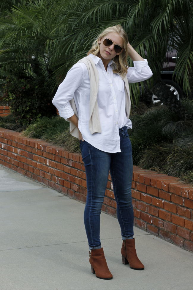 Shae Roderick, white button up, outfit, style, blogger, denim