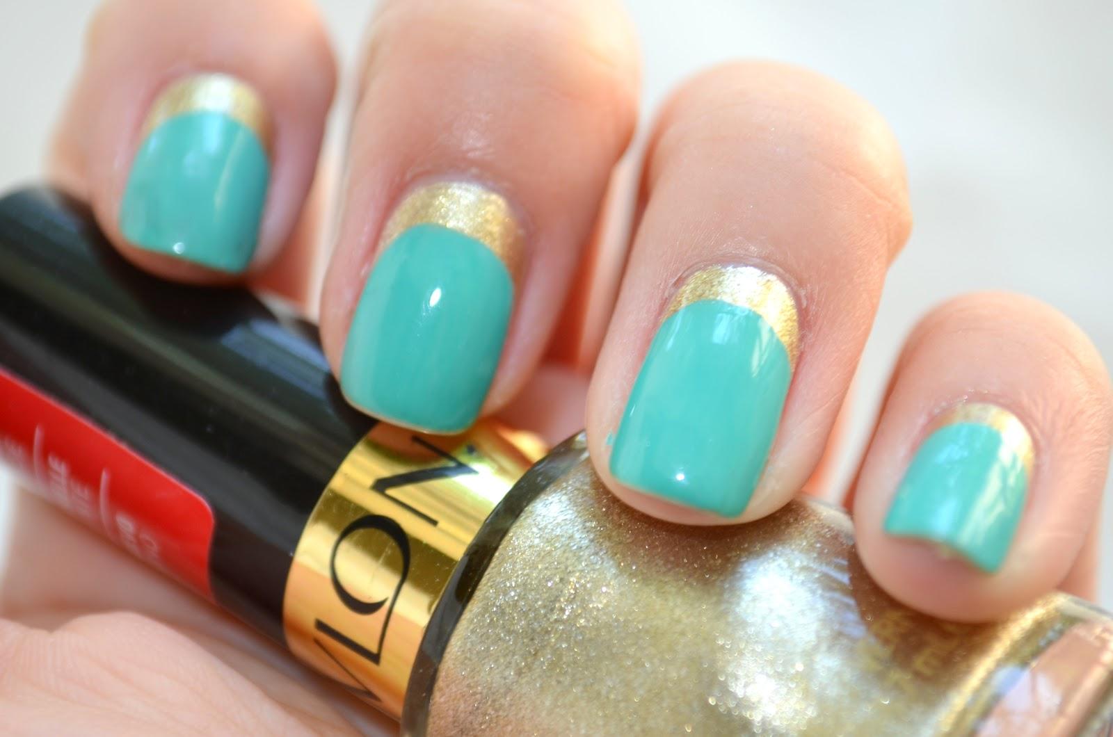 Meet my Polish: Nail Art: Revlon Golden Charm and Sally Hansen Sea ...