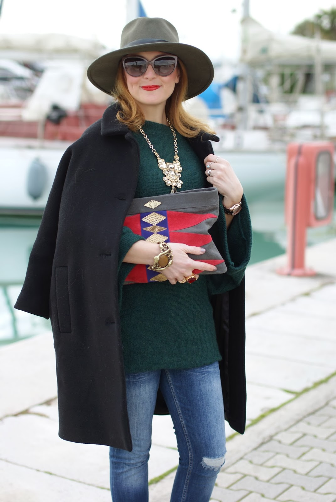 Ecua-Andino australian hat, Kiomi black coat, Fashion and Cookies, fashion blogger