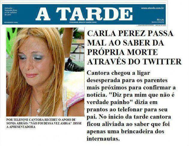 Carla Perez Passa mal ao saber da própria morte no Twitter