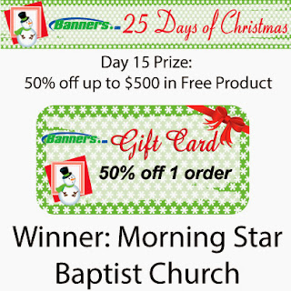 Banners.com 25 Days of Christmas Giveaway - Day 15 Winner