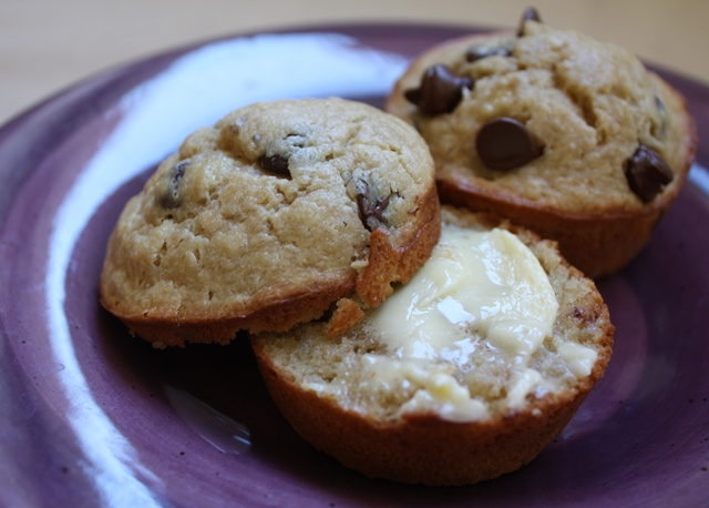 Peanut Butter Chocolate Chip Banana Muffins recipe by Barefeet In The Kitchen