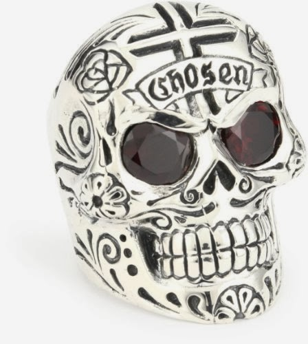 King Baby Men's Large Skull Ring with Chosen Cross Detail and Garnet Eyes