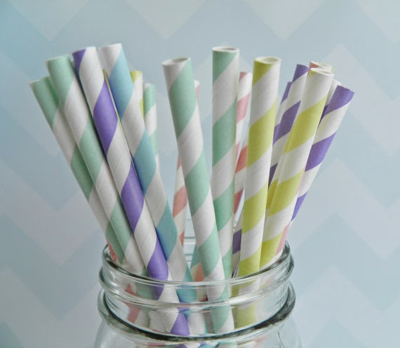 25 Pastel Paper Straws w/ FREE DIY Flags baby bridal shower bridesmaids luncheon rustic barn wedding