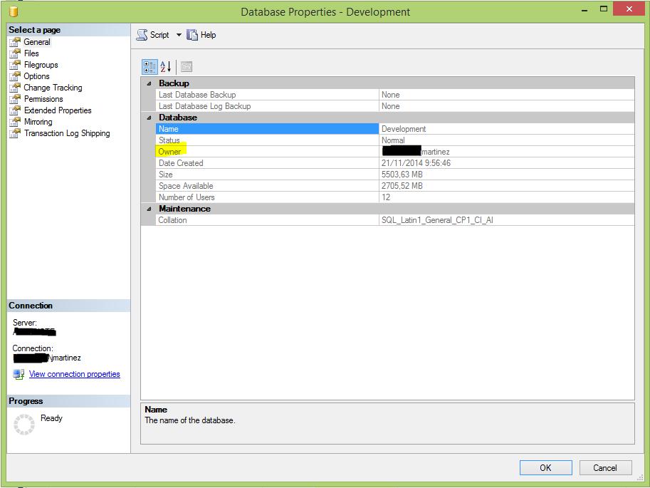 Propiedades de una base de datos, que incluyen el propietario (en amarillo)