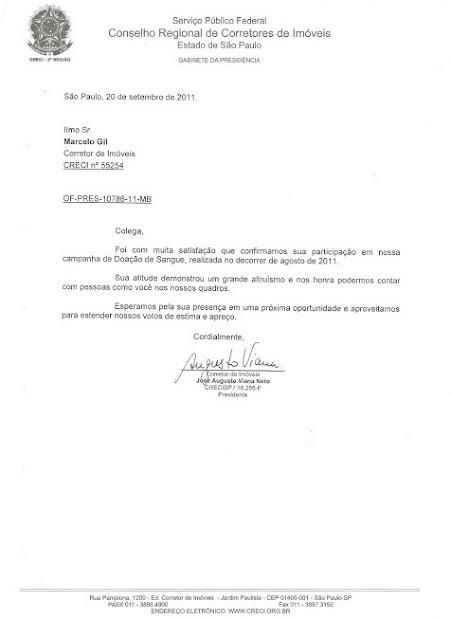 CARTA DE RECONHECIMENTO ENCAMINHADA PELO PRESIDENTE DO CRECI/SP PARA MARCELO GIL / 2011