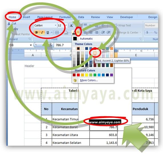 Gambar: Cara membuat watermark  sederhana dan mudah di Microsoft Excel