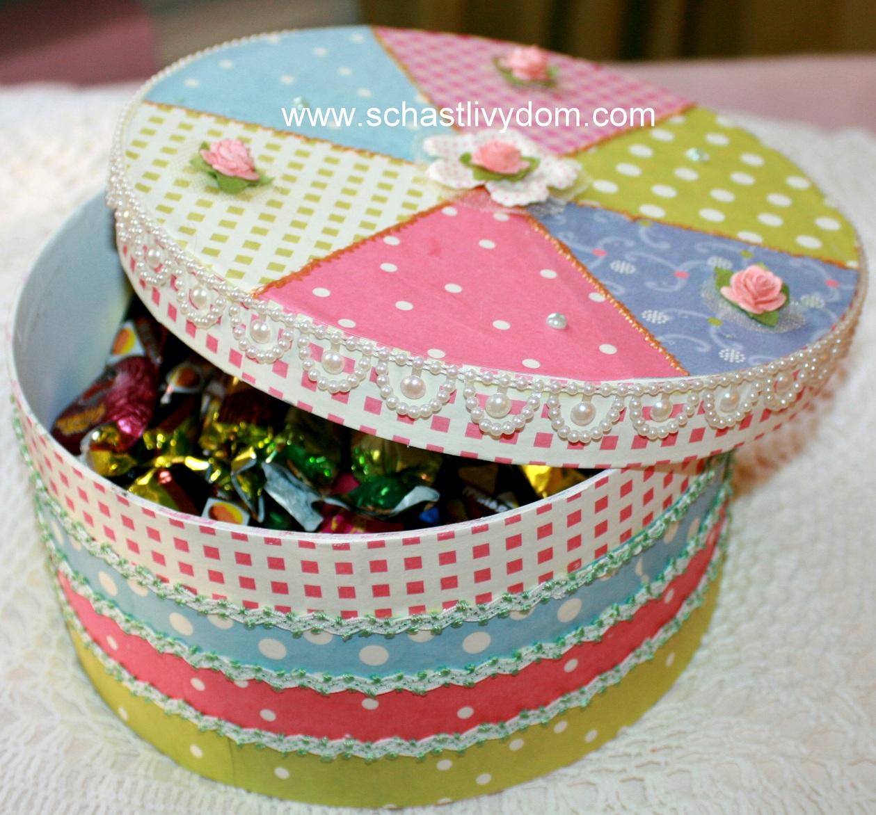 Оформление конфетами подарочной коробки своими руками