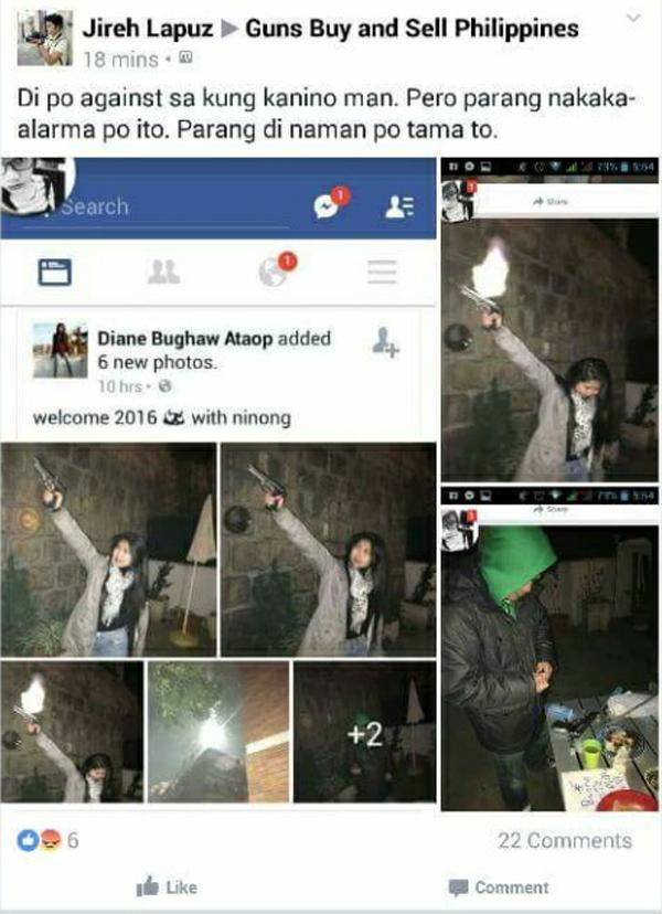 Diane Bughaw Ataop firing a gun on New Year's Eve