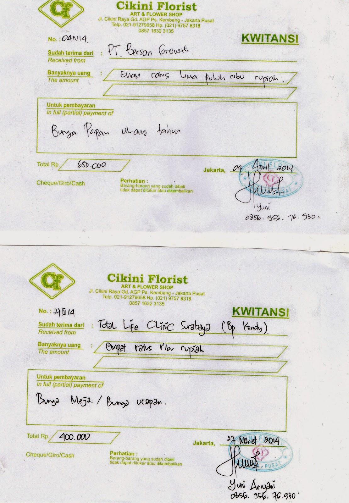 Toko Bunga Cikiniflorist Jakarta Kwitansi Asli Toko Bunga