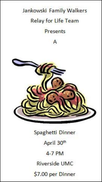 4-30 Spaghetti Dinner Benefits Relay For Life