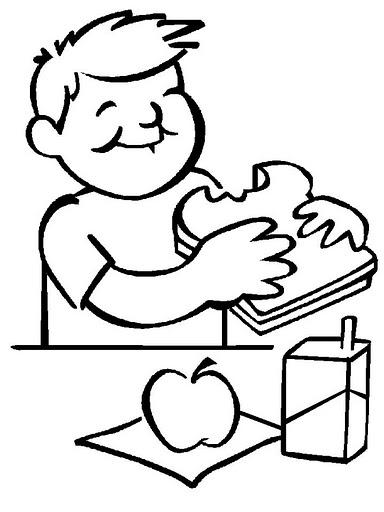 Portal Escuela Colorear niño comiendo sandwich manzana y jugo