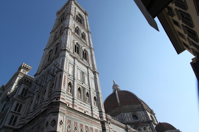The campanile and the famous dome of Duomo di Firenze, the Florence Cathedral in Florence, Italy