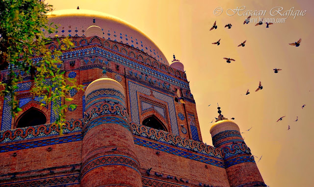 A view of the tomb of Shah Rukn e alam in Multan.