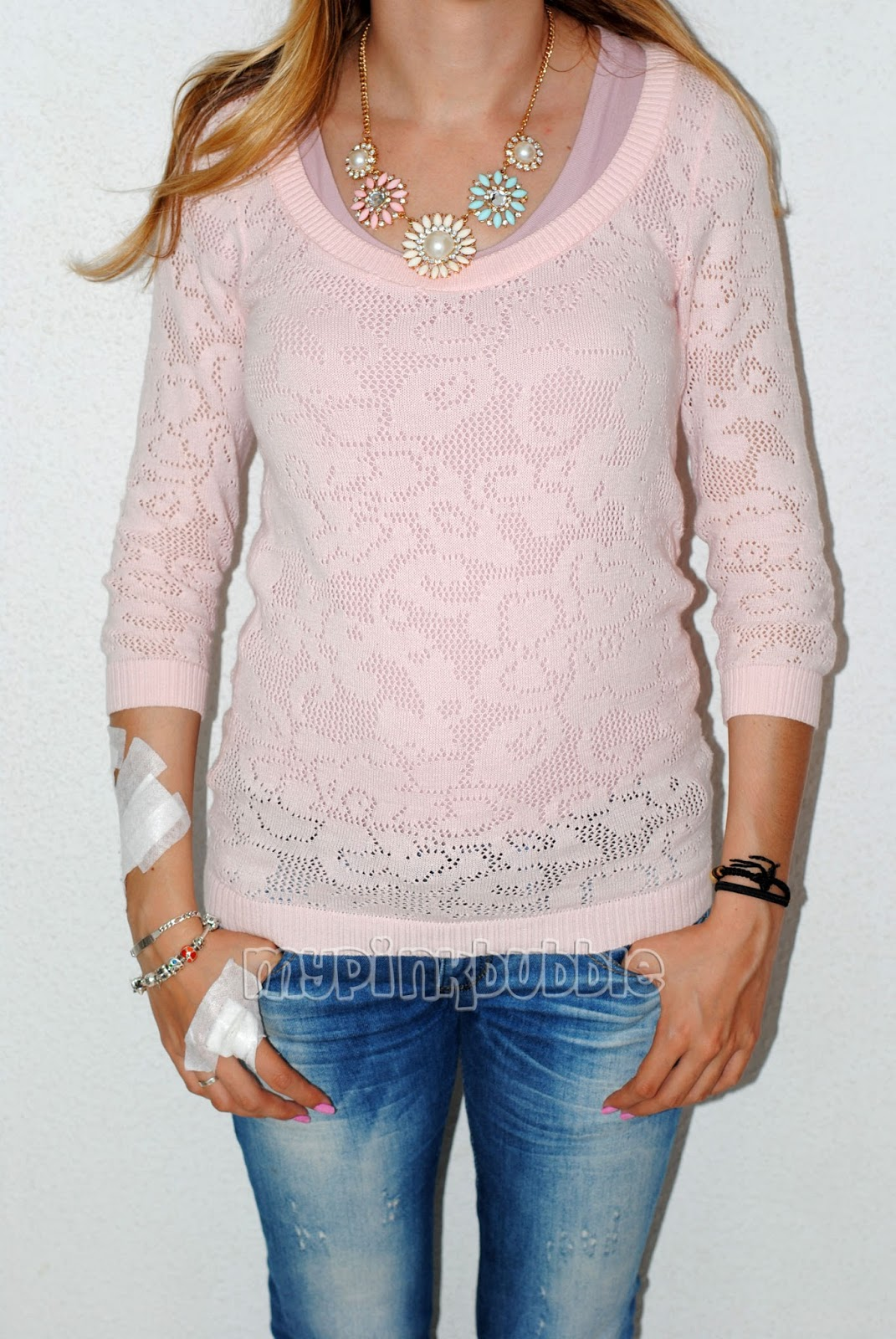 jersey stradivarius rosa pastel