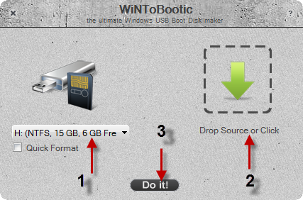 Wintobootic software,make usb flash drive bootable,install windows 7 from usb flash drive,boot disk creator,creation of bootable usb flash drive