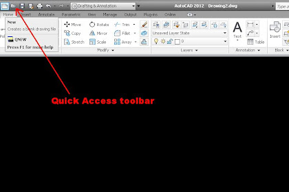 Quick Access Toolbar AutoCAD 2012