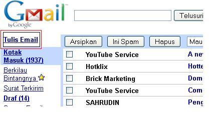 Klik Tulis Email, maka akan muncul tampilan seperti dibawah ini