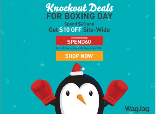 Wagjag Boxing Day $10 Off Site-Wide Promo Code