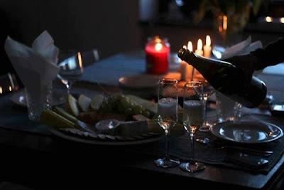 Foto cena con champagne
