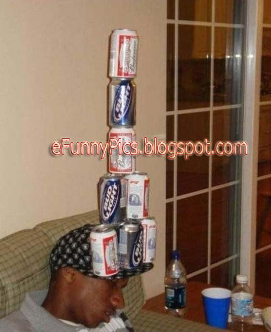 Cans of Beer Balanced on A Drunk Guy