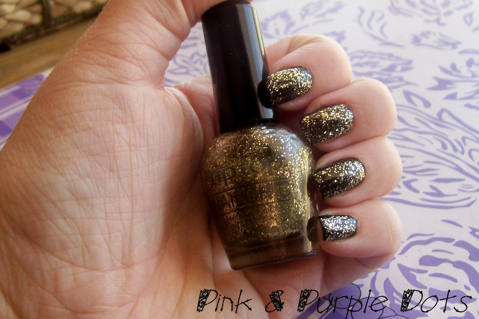 Pink & Purple Dots: Tip Top : Gold Drop Glitter