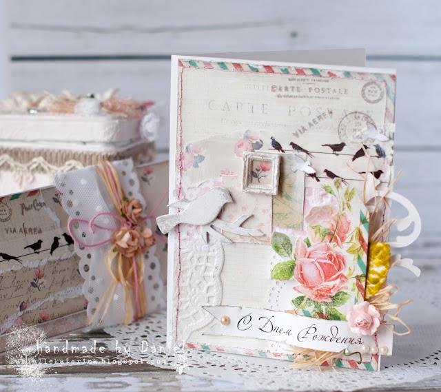 розовая открытка с цветами и птичкой