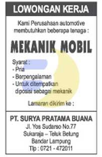 Lowongan Kerja Lampung, Rabu 11 Maret 2015
