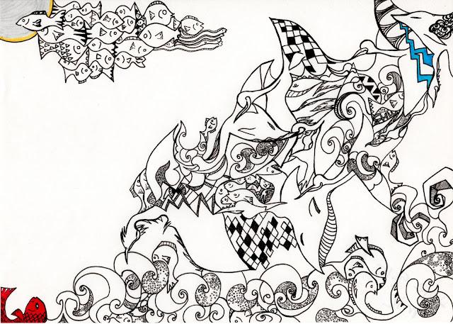 月と波と空飛ぶ魚たち / Moon and waves, flying fish