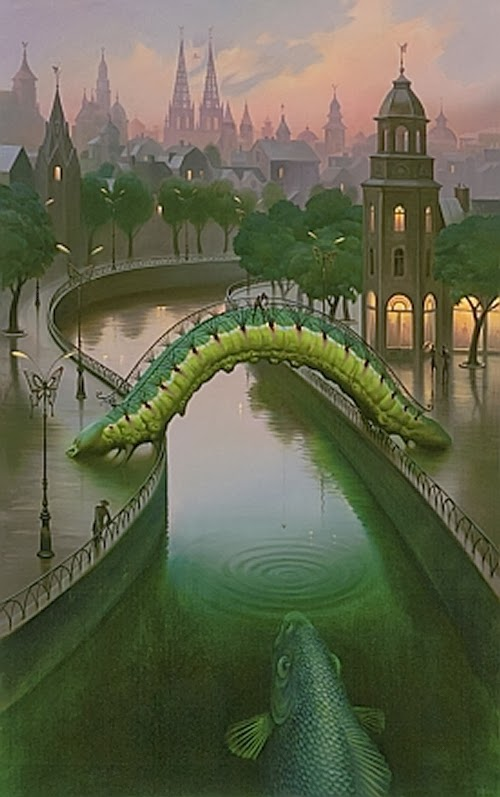 02-Fish-in-The-City-Vladimir-Kush-Surreal-Lands-Paintings-www-designstack-co