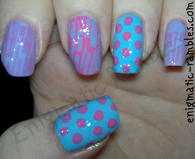 freehand-dotticure-stamped-bundle-monster-309-bm309-nail-nails-art-barry-m-prickly-pear-models-own-pink-blush-maybelline-cool-blue