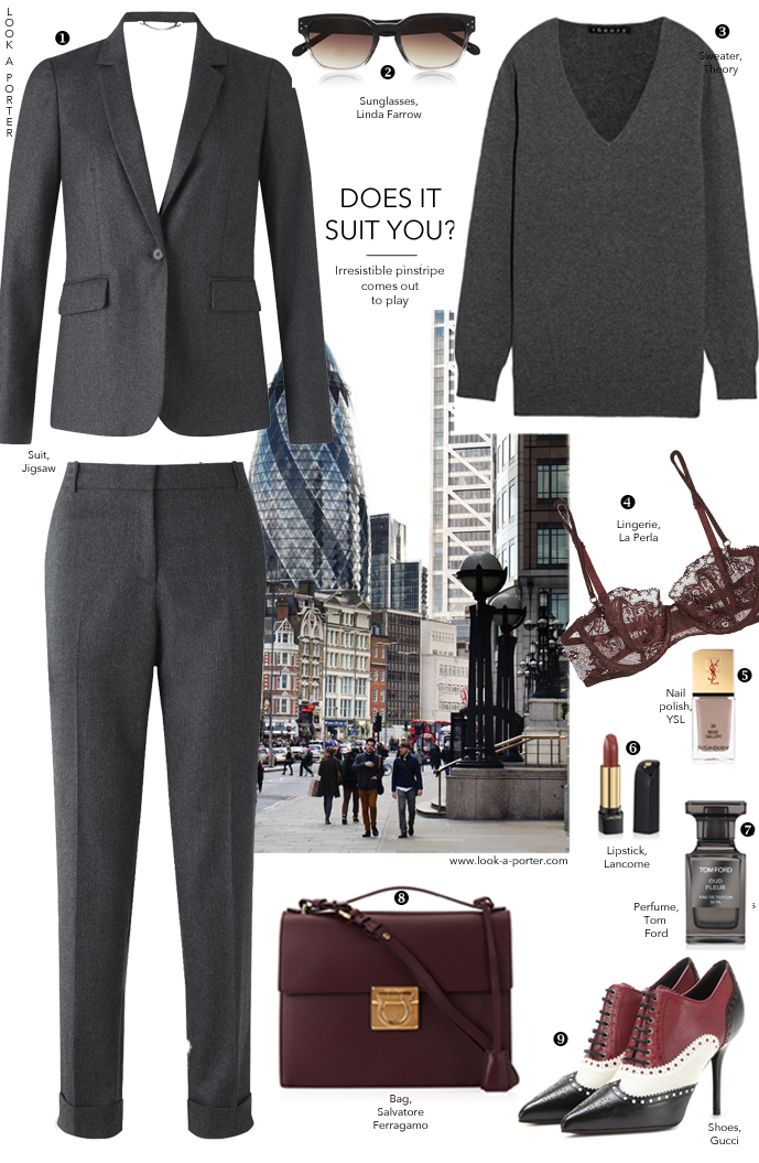 How to style a pinstripe suit / trends fall/winter 2015 / boy meets girl / via look-a-porter.com style & fashion blog / outfit ideas delivered daily