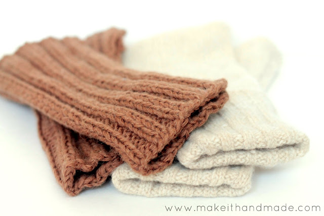 Sweater to Fingerless Glove Tutorial from Make It Handmade