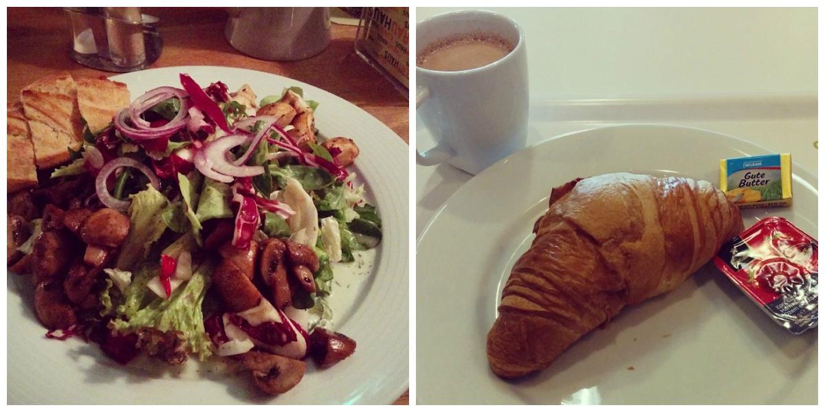 Salat mit gebratenen Pilzen und Ikea Frühstück