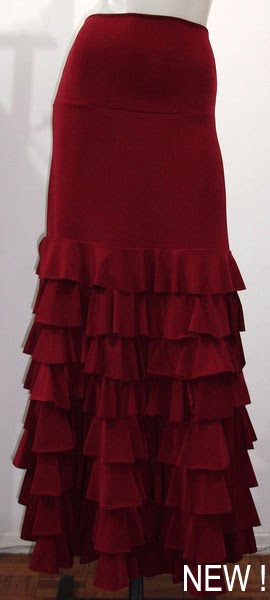 Skirt Bromélia 020-2 Solid color with 8 layers of ruffles, Burgundy - US$ 125.00