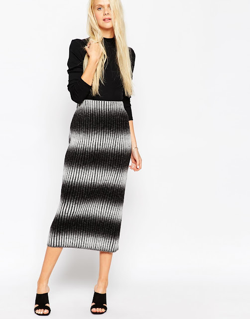 knitted stripe midi skirt,