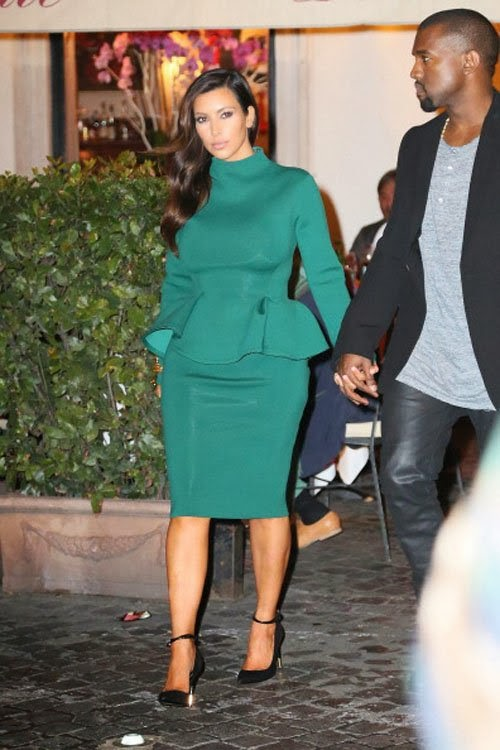 Kim kardashian in modest green dress with peplum tznius